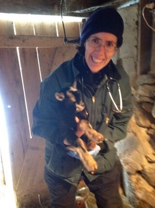 Dianne Johnson with a goat